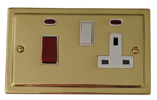 G&H TB29W Trimline Plate Polished Brass 45 Amp DP Cooker Switch & 13A Switched Socket